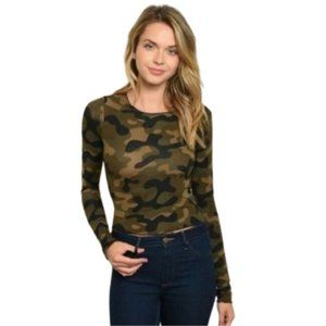 Camo Long Sleeve Crop Top Olive NWT - S
